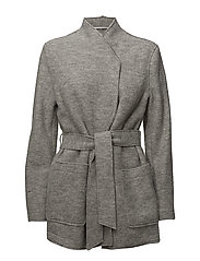 Leia Belt Jacket - LIGHT GREY