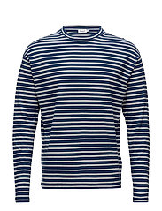 M. Striped Long Sleeve - AQUATIC/BO