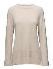Cashmere Split Sweater - BISQUE MEL