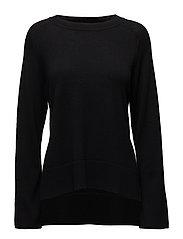 Cashmere Split Sweater - BLACK