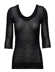 Sheer Merino Knit Top - BLACK