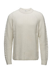 M. Wool Cable Knit Sweater - CREAM