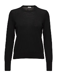 Merino R-neck Sweater - BLACK