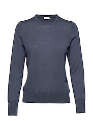 Merino R-neck Sweater - BLUE GREY