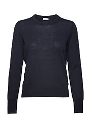 Merino R-neck Sweater - NAVY