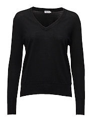 Merino V-neck Sweater - BLACK