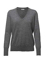 Merino V-neck Sweater - MID GREY M