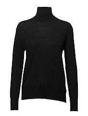 Merino Roller Neck Sweater - BLACK