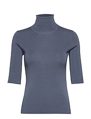 Merino Elbow Sleeve Top - BLUE GREY