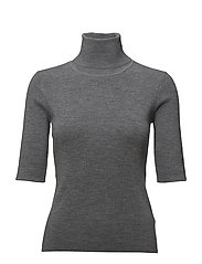 Merino Elbow Sleeve Top - MID GREY M