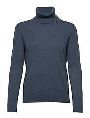 Cashmere Roller Neck Sweater - BLUE GREY