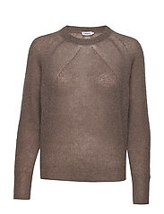 Mohair R-neck Sweater - DARK TAUPE