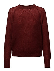 Mohair R-neck Sweater - DEEP RED