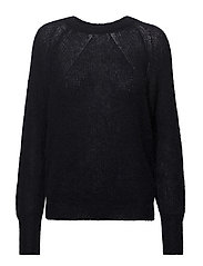 Mohair R-neck Sweater - DK. NAVY