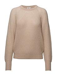 Mohair R-neck Sweater - PORCELAIN