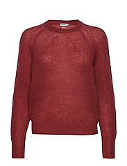 Mohair R-neck Sweater - RASPBERRY