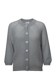 Mohair 3/4 Sleeve Cardigan - DOVE BLUE