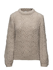 Pointelle R-neck Sweater - PORCELAIN