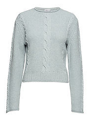 Cable R-neck Sweater - AQUA MEL