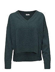 Cropped V-neck Sweater - EMERALD ME