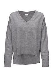 Cropped V-neck Sweater - GREY MEL.
