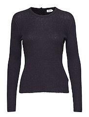 Flat Rib R-neck Sweater - NAVY