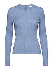 Flat Rib R-neck Sweater - PARIS BLUE