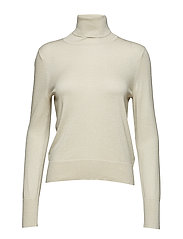 Lurex Roller Neck Sweater - CREAM LURE
