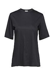 Mercerized Cotton Dressed Tee - BLACK