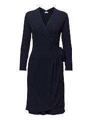 Drapey Crepe Wrap Dress - NAVY