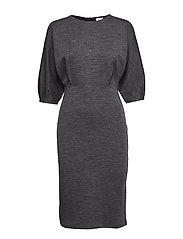 Volume Sleeve Wool Dress - DK. GREY M