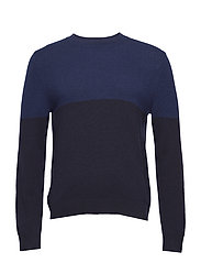 M. Wool Colour Block Sweater - BLUE/NAVY