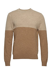 M. Wool Colour Block Sweater - LT CAMEL/C