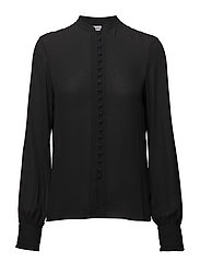 Sheer Button Blouse - BLACK