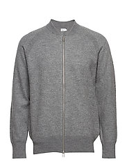 M. Boiled Wool Zip Jacket - GREY MEL.