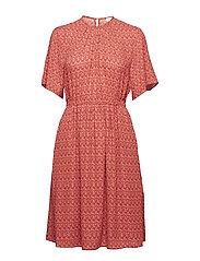 Print Crepe Dress - DEEP RED O