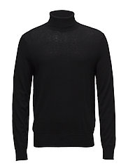 M. Silk Mix Rollerneck Sweater - BLACK