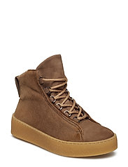 Anna Winter Laced Boot - CAMEL FUR