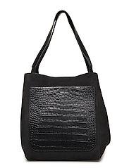 Shelby Bucket Leather Bag - BLACK NUBU