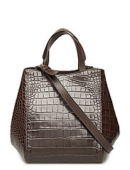 Shelby Mini Bucket Leather Bag - BROWN CROC