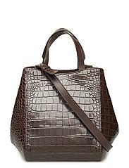 Shelby Mini Bucket Leather Bag - BROWN CROC