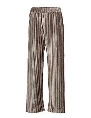 Velvet Plissé Trousers - TAUPE