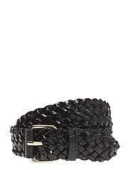 Braided Croco Leather Belt - BLACK CROC