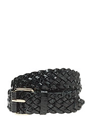 Braided Croco Leather Belt - EMERALD CR