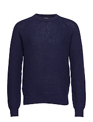 M. Wave Stitch Sweater - NAVY