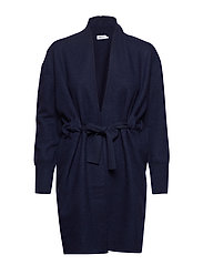 Boiled Wool Coat Cardigan - NAVY