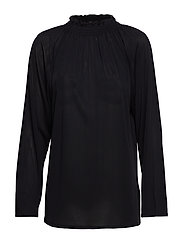 Smock Neck Blouse - BLACK