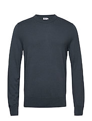 M. Cotton Merino Basic Sweater - BLUE GREY