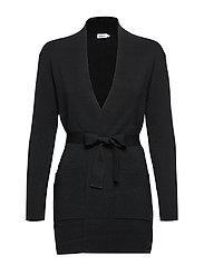 Belted Mid Cardigan - BLACK