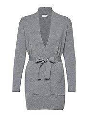 Belted Mid Cardigan - MID GREY M